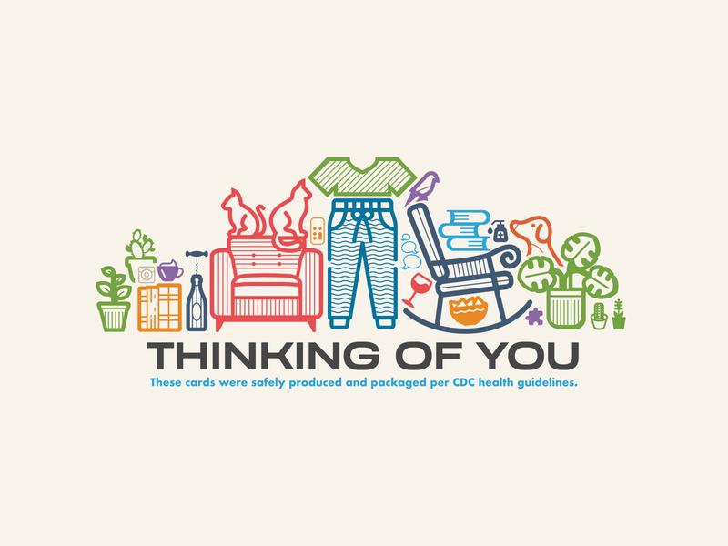 """Thinking of you"" — Hang Tag package stay home social distancing icons card print label tag hang tag greeting card covid19 covid coronavirus flat icon vector minimal illustrator illustration design"