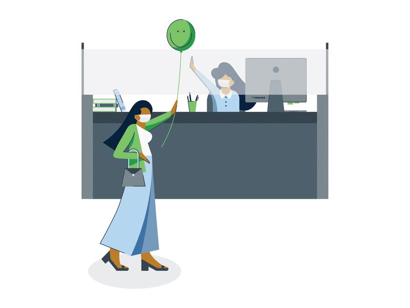 Bayport Credit Union work banking face mask desk office teller bank balloon social distancing covid19 covid coronavirus flat vector minimal illustrator illustration design