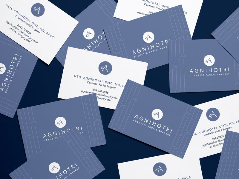Agnihotri Cosmetic Surgery — Business Cards mockup print brand design brand identity business cards logo branding icon flat vector minimal illustrator design