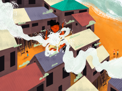 Mi buenaventura color clouds beach houses floating free illustration digital 2d character art