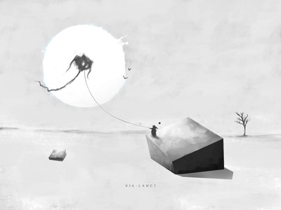 kite fly kite vialance visual novel surreal painting drawing concept art weekly warm-up solitude love illustration concept design