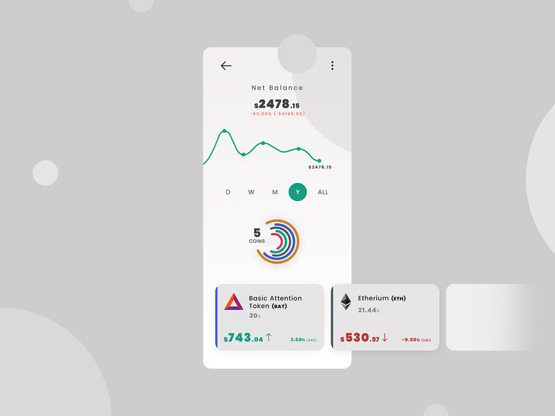crypto portfolio etherium cryptocurrency crypto wallet bitcoin app interaction ux ui concept design