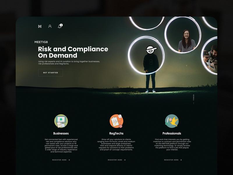 meetig8 technology scrolling landing page logo branding concept art illustration web  design interaction ux ui concept design