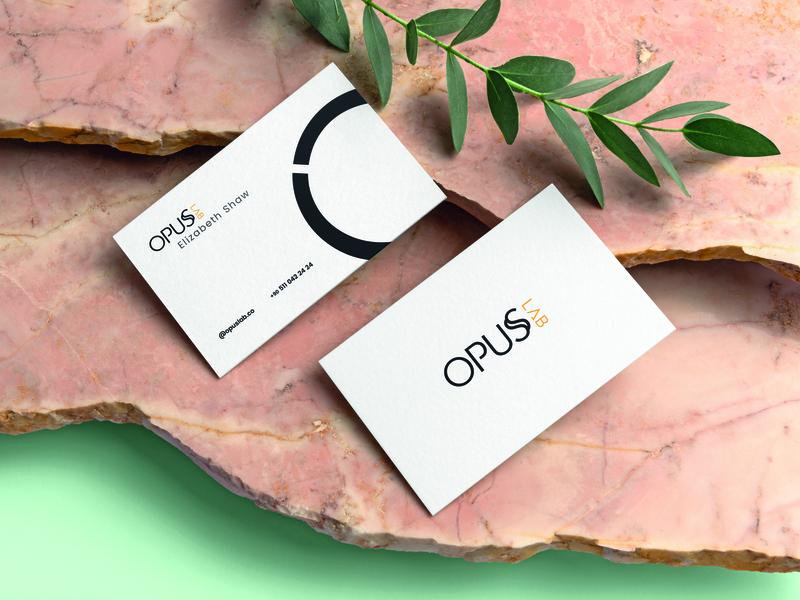 opuslab mockup shapes card flat branding typography icon vector minimal logo concept design