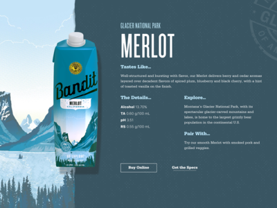 Bandit Wines Merlot Product Page