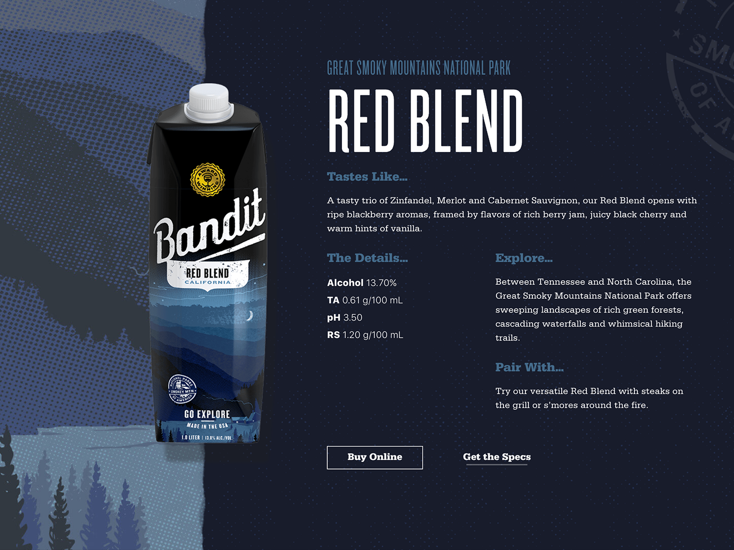 Red Blend Product Page illustration texture web typography design