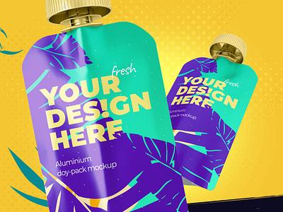 Doypack Mockup - Metallic packaging mockup packaging package pouch food package food bag doy-pack doy pack mock-up mockup