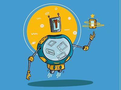 Mascot Mobile World graphic illustration blue mobile robot mascot character design characterdesign character