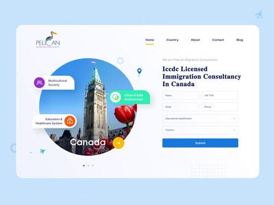 Travel immigration website ui minimal web animation icon ux