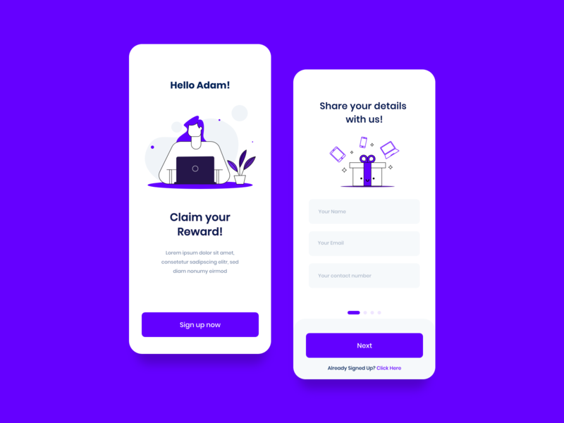 App Sign up app animation typography ux ui