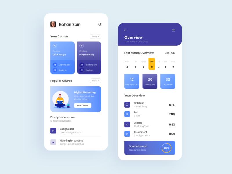 Educational / Study app web design app ux ui