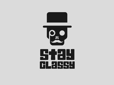 Stay Classy skull handlebar mustache monocle gentleman sir hat top skeleton stay classy