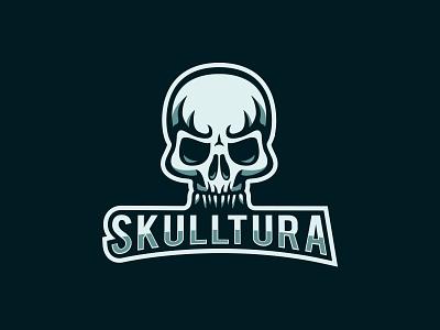 Skulltura mascot human bones death skull logo graphic identity angry bad evil head skeleton skeletal skull branding vector illustration design logo