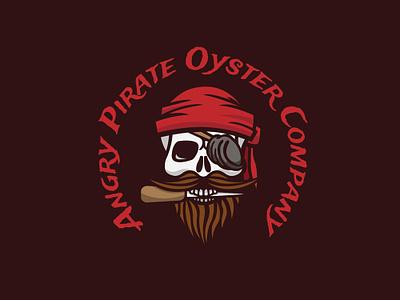 Angry Pirate Oyster Company vector bones skeleton branding red mascot food fish pirates knife eyepatch beard bandana sailor skull oyster pirate illustration design logo