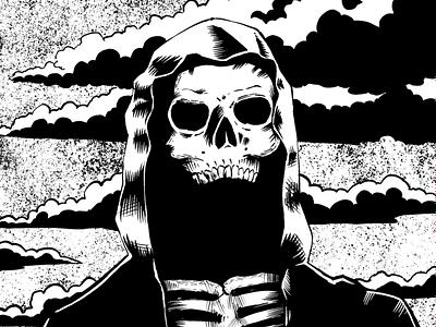 Grim Reaper character black  white black inking ink comic art dark skull comic flat digital design drawing illustration
