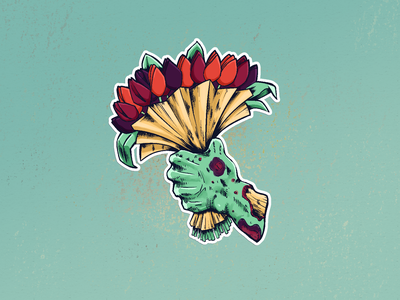 Zombie Flowers sticker tulips comic sticker zombie color graphic flat digital design red drawing illustration