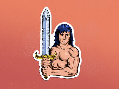 Barbarian sorcery sword fantasy barbarian graphic red design digital drawing illustration
