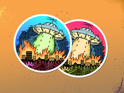 Flying saucer recolor sticker spaceship abducted saucer space graphic flat digital design drawing illustration