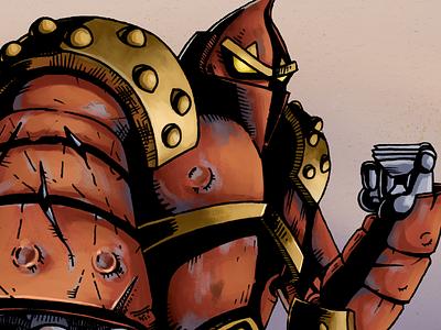 Robot Fighter sticker wrestler fighter robot graphic flat digital red design drawing illustration