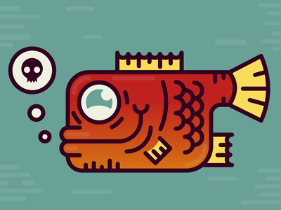 The red fish vector digital logo line thick contrast blue red art character drawing affinity design ui geometric illustration flat