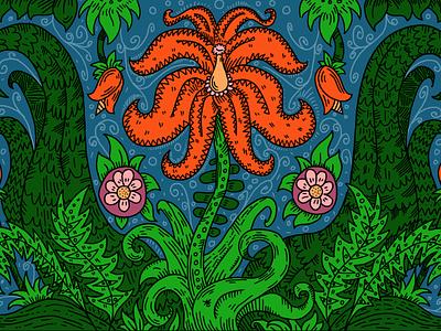 Flower illustration drawing red blue pattern ornament flower