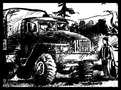 Cargo Truck art black ink graphic illustration