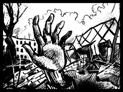 Foreigner's death art black ink graphic illustration