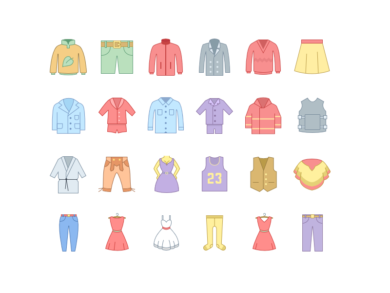 Clothes icons pastel icons8 office outline color icons