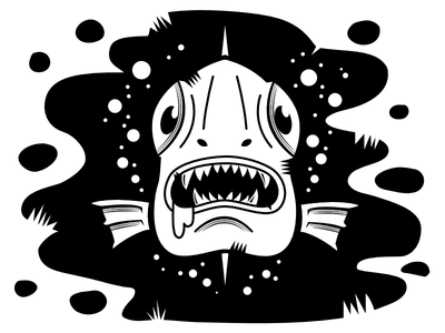 Fishy black ink black and white fish digital illustration vector