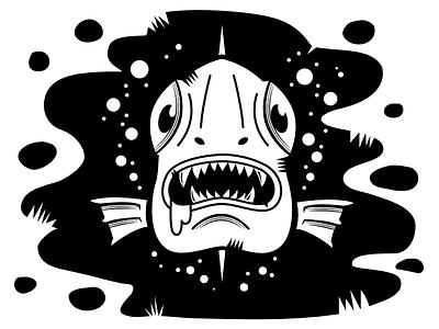 Fishy black ink black and white fish digital illustration vector