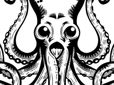 Alien Octopus affinitydesigner alien octopus animal bw white black inking drawing illustration
