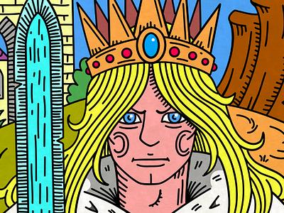 The Blue King affinitydesigner king ega color inking drawing illustration