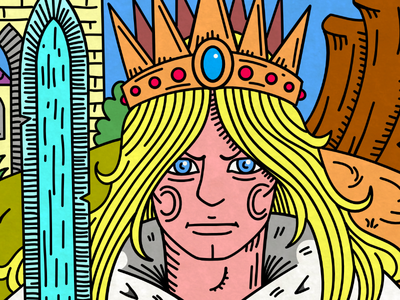 The Blue King affinitydesigner king ega color inking drawing illustration