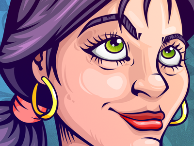 Girl With Toad green purple frog toad affinitydesigner dark girl ega color inking drawing illustration