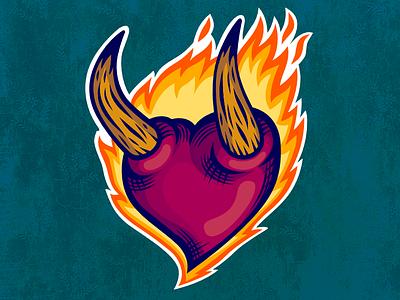 The Burning Heart red love fire flames illustration design sticker heart