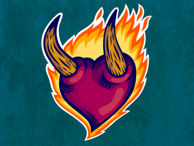 The Burning Heart red love fire flames illustration design sticker heart