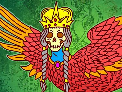 Myths of undead affinity designer green red editorial fantasy mythology vector illustration