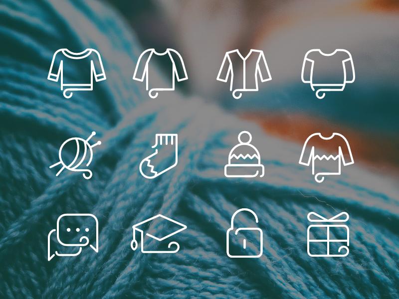 Knitting school icons
