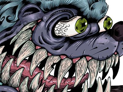 Crazy Honey badger design procreate drawing art illustration evil teeth honey badger print tee t-shirt
