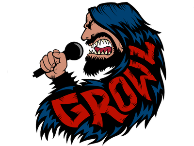Growl! hate evil red black death metal sticker design drawing vector