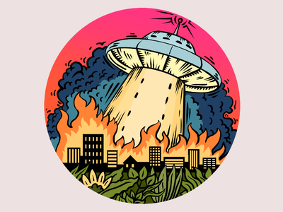 UFO Attack fire ufo design flat digital red drawing illustration