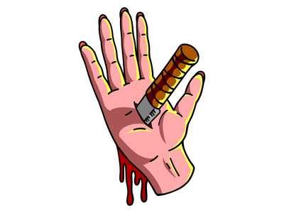 The Hand of Pain dark knife hand affinity designer tattoo blood pain art symbol illustration