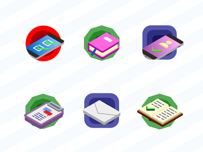 Achievments icons ui affinity designer design isometric isometry flat color vector set achievement icons icon
