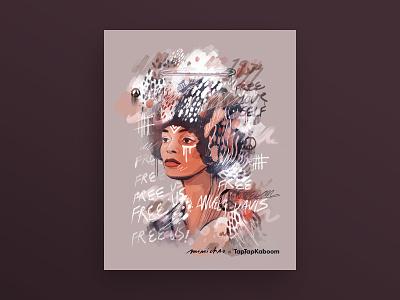 Angela Davis digital illustration digital art portrait illustration portrait women expressive doodlebomb doodle doodle art abstract illustration abstract art collaboration