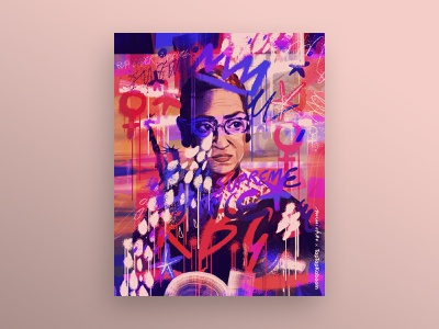 Ruth Bader Ginsburg graffiti street art collaboration abstract art abstract illustration doodle art doodle doodle bomb expressive women portrait portrait illustration digital art digital illustration