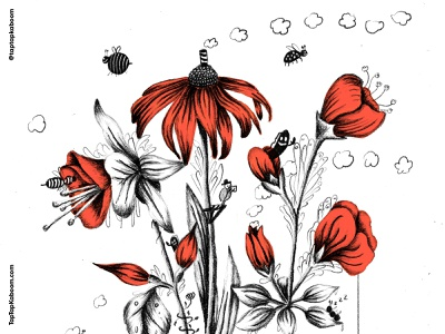 Creature-Filled Baby Room Illustrations 2 of 2 flower illustration flowers plants bugs imagination creatures doodlebomb doodles