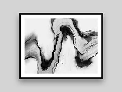 Tributary black and white marbling illustrator art digital pour digital marbling procreate painting digital painting