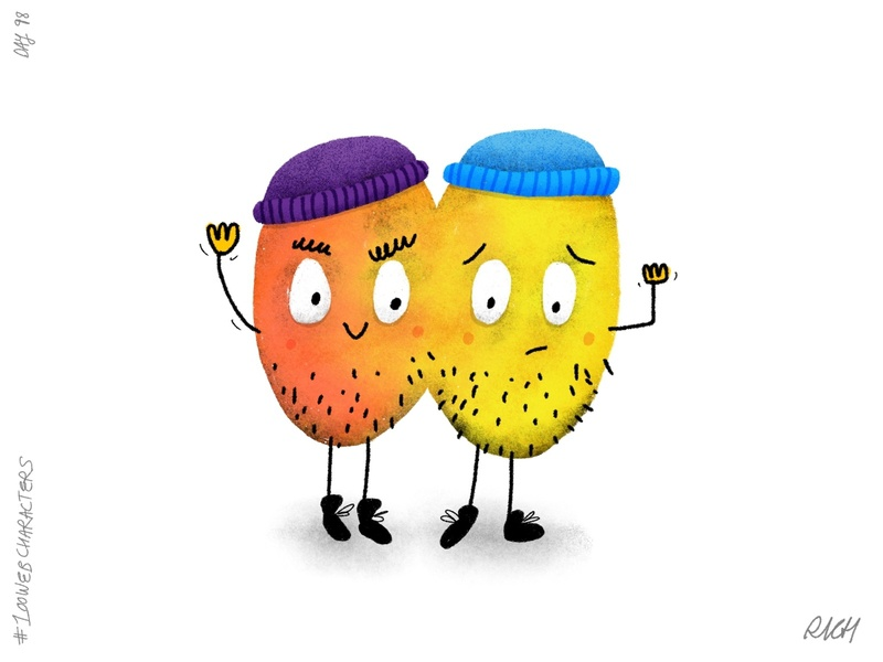 Day 98: Peter and Pieter Pair kid illustration procreate character design characters doodle children illustration illustration web 100webcharacters the100dayproject
