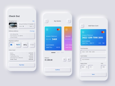 Wallet / Payment / Check out UI ui design neumorphic card checkout payment wallet bank mobile