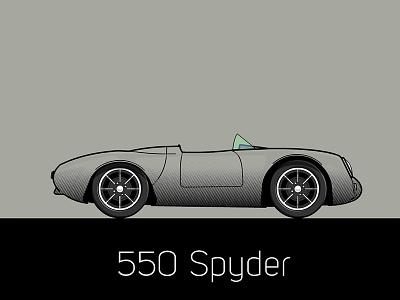 550 Spyder flat car porsche illustration